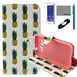 Coco Fun® patrón de la piña blanco caja de cuero de la PU con el usb v8 cable, flim y lápiz para Samsung G360 primer núcleo de la galaxia