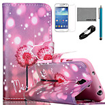 COCO FUN® Firefly Dandelion Pattern PU Leather Case with V8 USB Cable, Flim and Stylus for Samsung Galaxy S4 MINI i9190