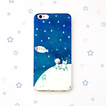 Rabbit Bear Cony and Brown Cartoon Line Town Stars Moon Reflective Blu-ray Soft TPU Case Cover for iphone 6s/iphone 6