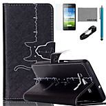 COCO FUN® Cat Cardiogram Pattern PU Leather Case with V8 USB Cable, Flim and Stylus for Samsung Galaxy A5
