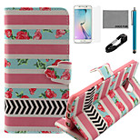 COCO FUN® Rose Stripe Pattern Pattern PU Leather Case V8 USB Cable, Flim, Stylus and Stand for Samsung Galaxy S6 edge