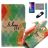 COCO FUN® Green Diamond Pattern PU Leather Case with V8 USB Cable, Flim and Stylus for Samsung Galaxy Note 4
