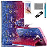 COCO FUN® Golden Words Pattern PU Leather Case with V8 USB Cable, Film and Stylus for Samsung Galaxy S6