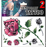 Temporary Tattoos Stickers Non Toxic Glitter Waterproof Multicolored Glitter 1 Package 17*16CM Rose