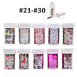 New 100Designs Nail Art Transfer Foil Paper 10pcs + 1pcs Nail Foil Glue (from #21 to #30)