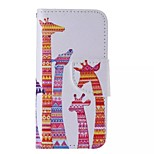 Color Giraffe Painted PU Phone Case for iphone5/5S