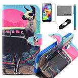 COCO FUN® Antelope Bus Pattern PU Leather Case with V8 USB Cable, Flim, Stylus and Stand for Samsung Galaxy S4 I9500