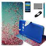 COCO FUN® Sky Red Floral Pattern PU Leather Case with V8 USB Cable, Flim and Stylus for Samsung Galaxy Grand Prime G530