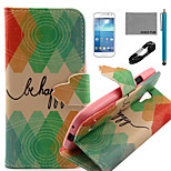 COCO FUN® Green Diamond Pattern PU Leather Case with V8 USB Cable, Flim and Stylus for Samsung Galaxy S4 MINI i9190