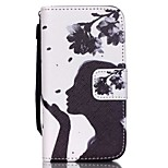 HZBYC®Dandelion Girl Pattern PU Material Card Lanyard Case for iPhone 4/4S