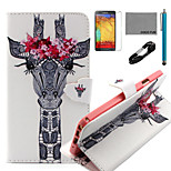 COCO FUN® Garland Eyelash Giraffe Pattern PU Leather Case with V8 USB Cable, Flim and Stylus for Samsung Galaxy Note 3