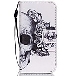 HZBYC®White Skull Pattern PU Material Card Lanyard Case for iPhone 5C
