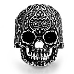 Classical Individual No Decorative Stone Men's Stoving Varnish Flower skulls Stainless Steel Ring(Black)(1Pc)