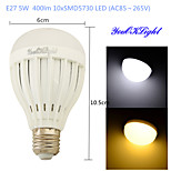 youoklight® 1PCS E27 5W 10*SMD5730 400LM White/ Warm White Light LED Energy saving High quality Globe Bulbs (AC85~265V)