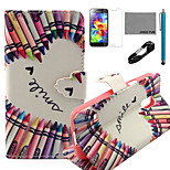 COCO FUN® Crayon Heart Pattern PU Leather Case with V8 USB Cable, Flim and Stylus for Samsung Galaxy S5 MINI