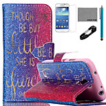 COCO FUN® Golden Words Pattern PU Leather Case with V8 USB Cable, Flim and Stylus for Samsung Galaxy S4 MINI i9190