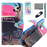 COCO FUN® Antelope Bus Pattern Pattern PU Leather Case V8 USB Cable, Flim, Stylus and Stand for Samsung Galaxy S6 edge