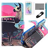 Coco Fun® antílope MODELO bus pu estuche de cuero usb v8 cable, flim, lápiz óptico y soporte para el borde samsung galaxy s6