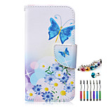 The New Butterfly Pattern PU Material Phone Case  and Dust Plug Stylus Pen for  Samsung Galaxy Note 3/4/5