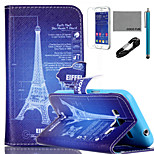 COCO FUN® Tower Drawing Pattern PU Leather Case with V8 USB Cable, Flim and Stylus for Samsung Galaxy Core Prime G360