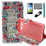 COCO FUN® Little Flower Pattern PU Leather Case with V8 USB Cable, Flim and Stylus for Samsung Galaxy A5
