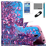 COCO FUN® Flower Tree Sky Pattern PU Leather Case with V8 USB Cable, Flim and Stylus for Samsung Galaxy S4 MINI i9190