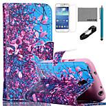 coco Fun® Blume Baum Himmel Muster PU-Lederetui mit V8-USB-Kabel, FLIM und Stylus für Samsung Galaxy S4 Mini i9190