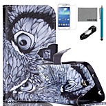 COCO FUN® Night Owl Pattern PU Leather Case with V8 USB Cable, and Stylus for Samsung Galaxy S4 MINI i9190