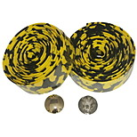 Road Bike Fixed Gear Single Speed Handlebar Tape Bar Wrap Leopard(Yellow Black,2Pcs)