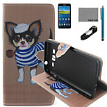 COCO FUN® Pipe Dog Pattern PU Leather Case with V8 USB Cable, Flim and Stylus for Samsung Galaxy Grand Prime G530