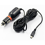 5V 2A Car Charger With Mini USB Cable for Camcorder  GPS - Black (12~24V)