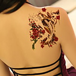 Plum Red Carp Waterproof Flower Arm Temporary Tattoos Stickers Non Toxic Glitter