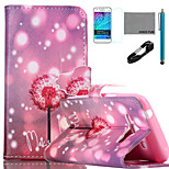 COCO FUN® Firefly Dandelion Pattern PU Leather Case with V8 USB Cable, Film and Stylus for Samsung Galaxy J1