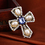 Classic  Vintage Cross Elegant Pearl Full Rhinestone Alloy M's brooch For Woman&Lady