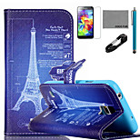 COCO FUN® Eiffel Tower Drawing Pattern PU Leather Case with V8 USB Cable, Stylus and Stand for Samsung Galaxy S4 I9500