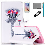 COCO FUN® Big Eyes Garland Giraffe Pattern PU Leather Case with V8 USB Cable, Film and Stylus for Samsung Galaxy S6