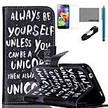 Coco Fun® siempre ser uno mismo patrón de la caja de cuero de la PU con el usb v8 cable, flim y el lápiz para el mini samsung galaxy s5