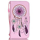 HZBYC®Pink Campanula Pattern PU Material Card Lanyard Case for iPhone 5/5S