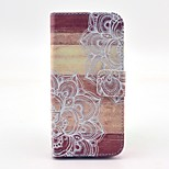 Mandala Flower Wood Pattern PU Leather Stand Case Cover with Card Slot for iPhone 5/5S