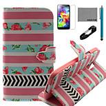 Coco Fun® rosa patrón de rayas caja de cuero de la PU con el cable usb v8, flim, lápiz óptico y soporte para i9600 Samsung Galaxy S5