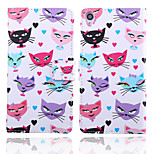 Cat Pattern Card Stand Leather Case for Sony Xperia Z3/Z4/E3/E4/T3