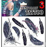 Temporary Tattoos Stickers Non Toxic Glitter Waterproof Multicolored Glitter 1 Package 17*16CM  Feather