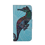 A hippocampus Pattern Card Stand Leather Case for iPhone 6/6S