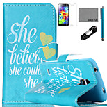 COCO FUN® She Believe She Could Pattern PU Leather Case with V8 USB Cable, Stylus and Stand for Samsung Galaxy S4 I9500