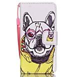 el nuevo cordón gafas de perro de la PU material de cuero de teléfono celular carta invertida para el tacto 5.6