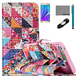 COCO FUN® Retro Flower Checks Pattern PU Leather Case with V8 USB Cable, Flim and Stylus for Samsung Galaxy Note 5