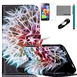 patrón de diente de león del arco iris caja de cuero de la PU de coco Fun® con usb v8 cable, flim y el lápiz para el mini samsung galaxy