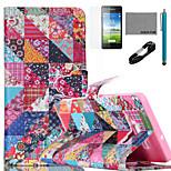coco Fun® Retro Blume überprüft Muster PU-Lederetui mit V8-USB-Kabel, FLIM und Stylus für Samsung-Galaxie a5