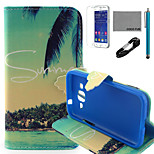 patrón de coco verano caja de cuero de la PU de coco Fun® con usb v8 cable, flim y lápiz para Samsung G360 primer núcleo de la galaxia