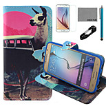 COCO FUN® Antelope Bus Pattern PU Leather Case with V8 USB Cable, Film and Stylus for Samsung Galaxy S6